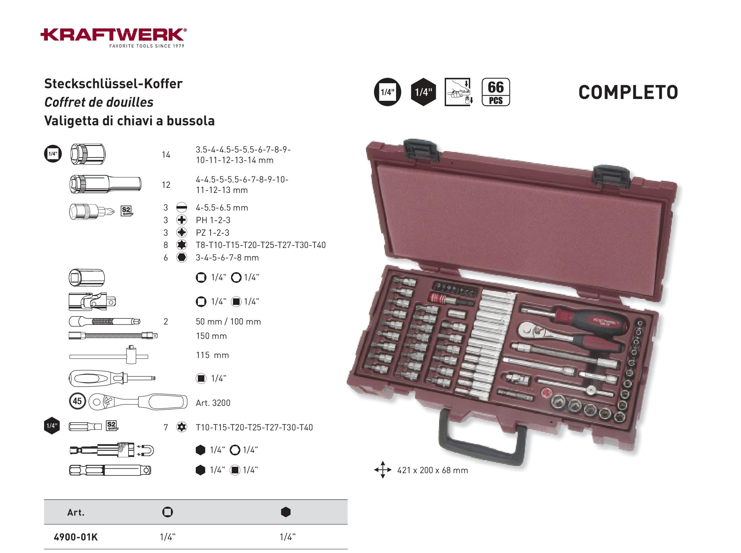 """Kraftwerk ® 4900-01K 1//4/"""" 66-teilig COMPLETO Steckschlüssel Koffer"""
